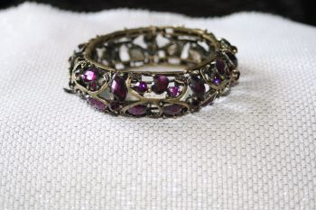 Dark purple crystal set metal bracelet