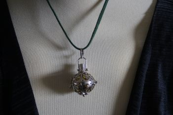 SILVER Angel Calling Bell on Green Suede Cord