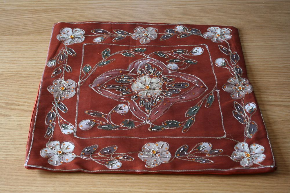 Silk embroidered and embellished Cushion Covers