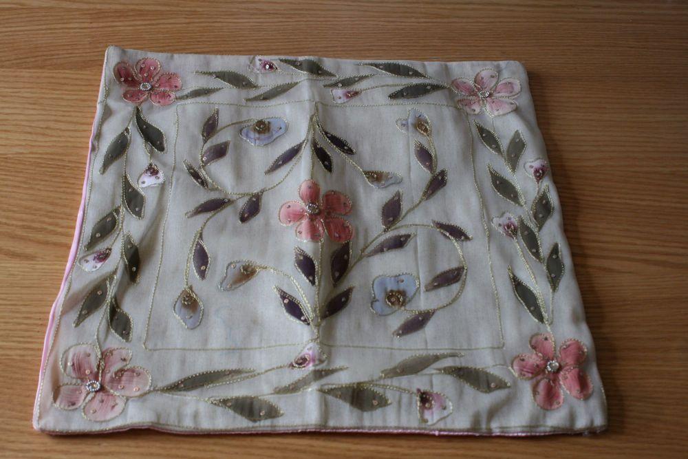 Beautiful hand made silk cushion cover
