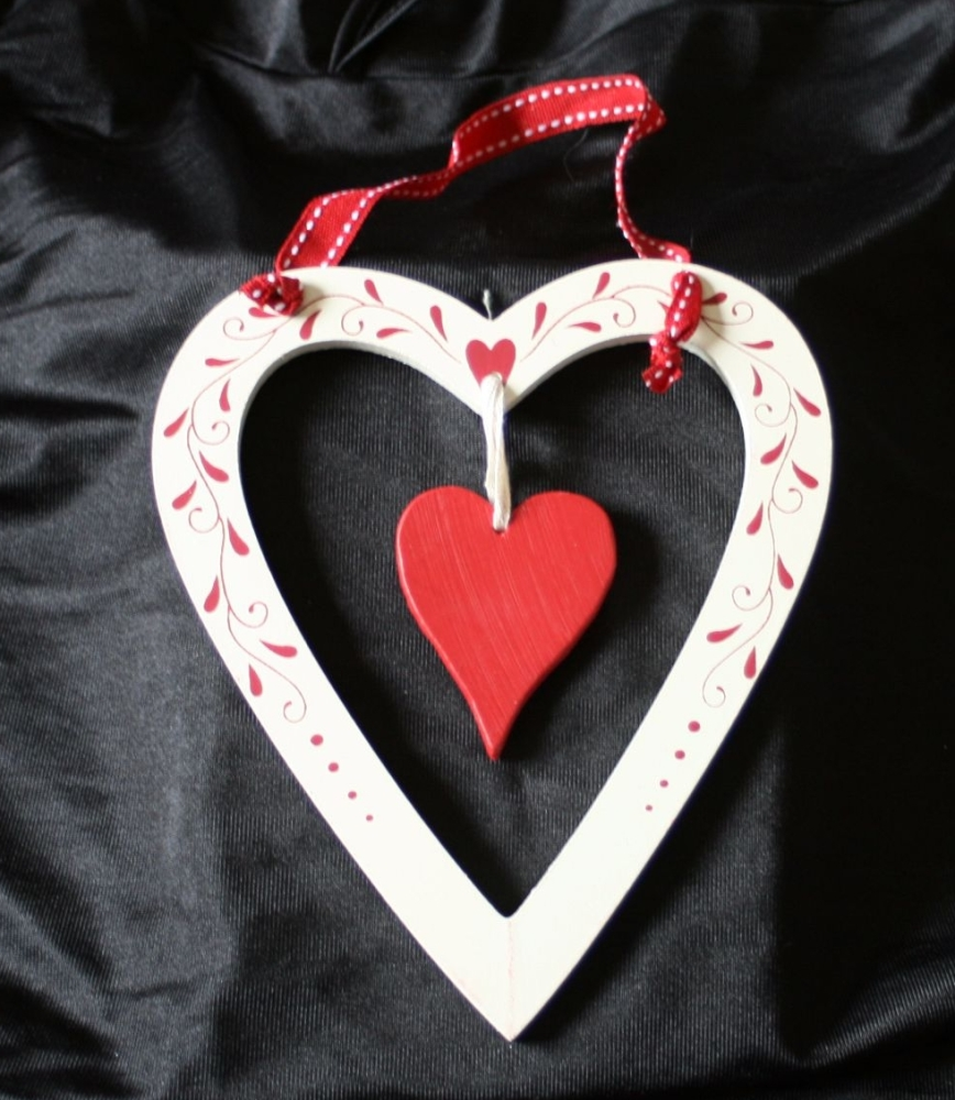Cream Heart with red accents