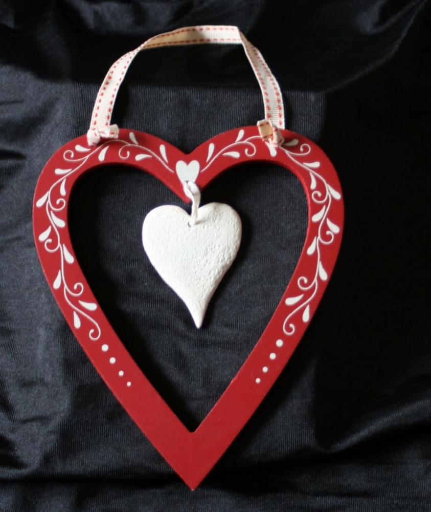Red Heart with Cream Accents