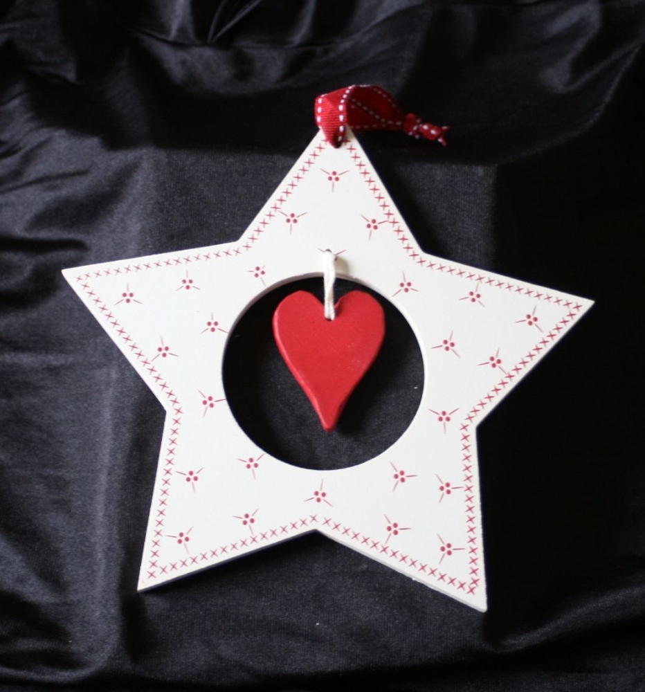 Cream Star with Red Accents