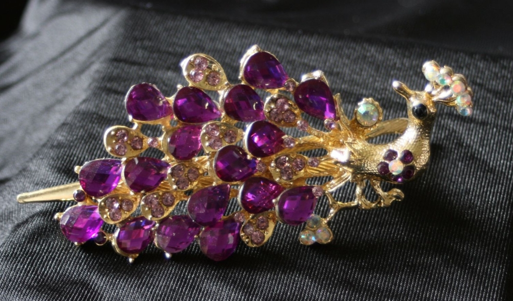 Peacock Hair Clip - Purple