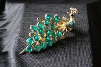 Peacock Hair Clip - Blue