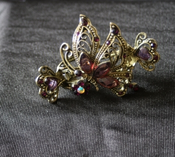 Double Clasp Old Gold style Dark Purple Hair clip