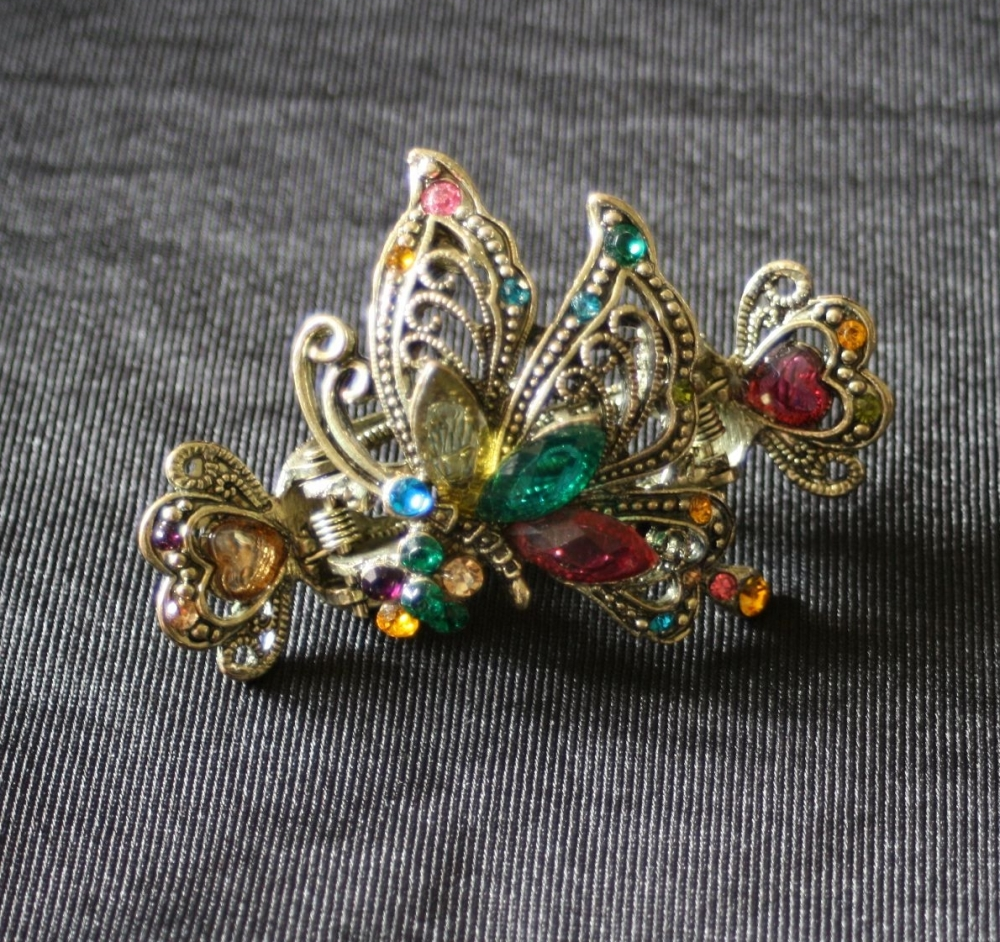 Double Clasp Old Gold Style Multi-coloured Hair Clasp