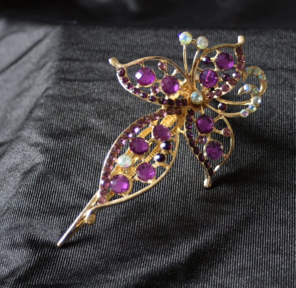 Four Petal Flower Hair Clip in Purple
