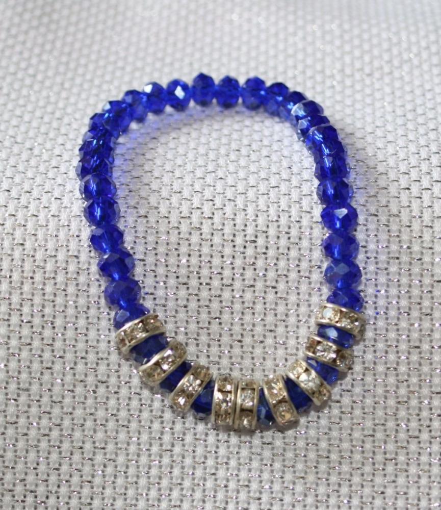 Cobalt Blue crystal bead and silver sparkle elasticated bracelet