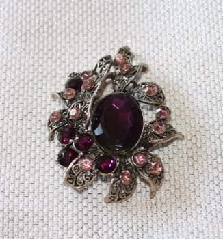 Sparkling Brooch with DARK PURPLE Stones