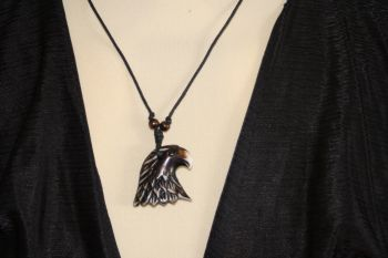 Adjustable black thong with resin Eagle Head pendant