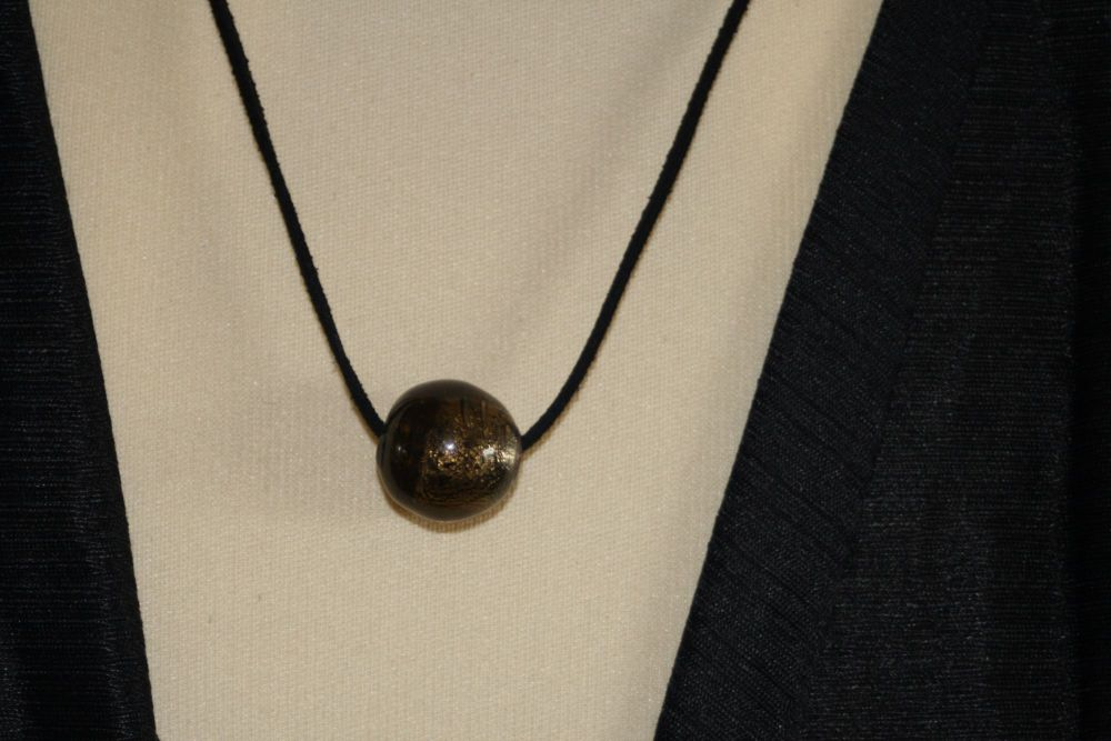 Friendship Pendant with BROWN/GOLD Round Bead