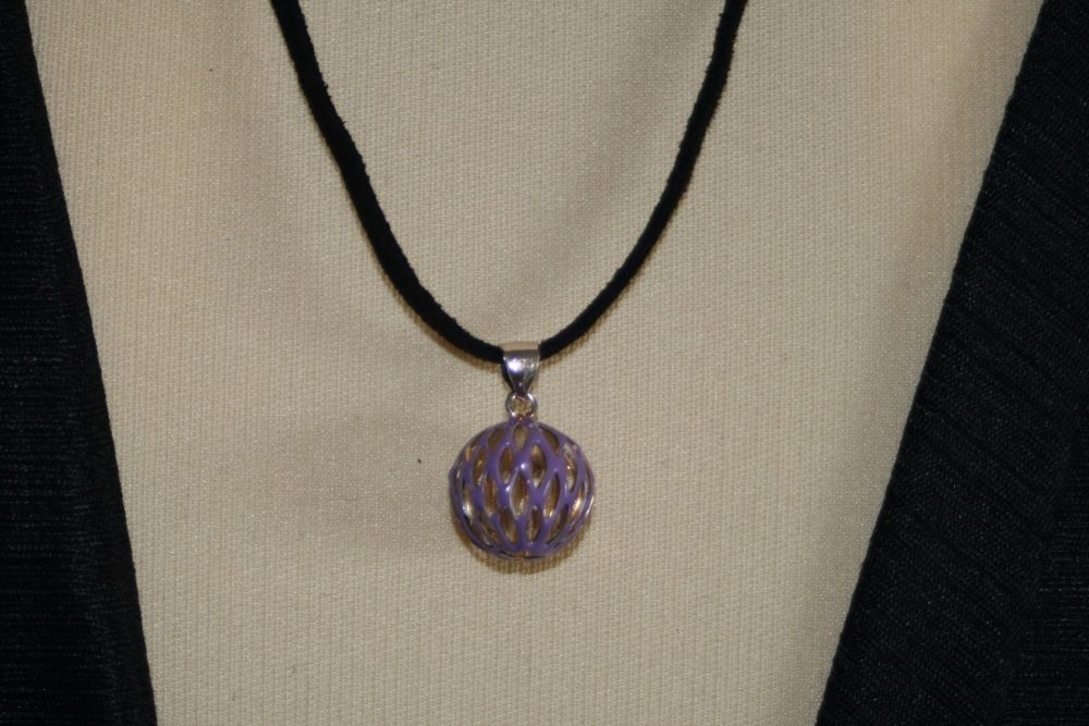 Friendship Pendant with Metal Lattice Work Bauble in LILAC