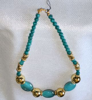 Blue and Gold Necklace AND bangle SET