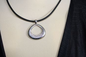 Silver coloured Compressed Oval with Diamantes - LARGE