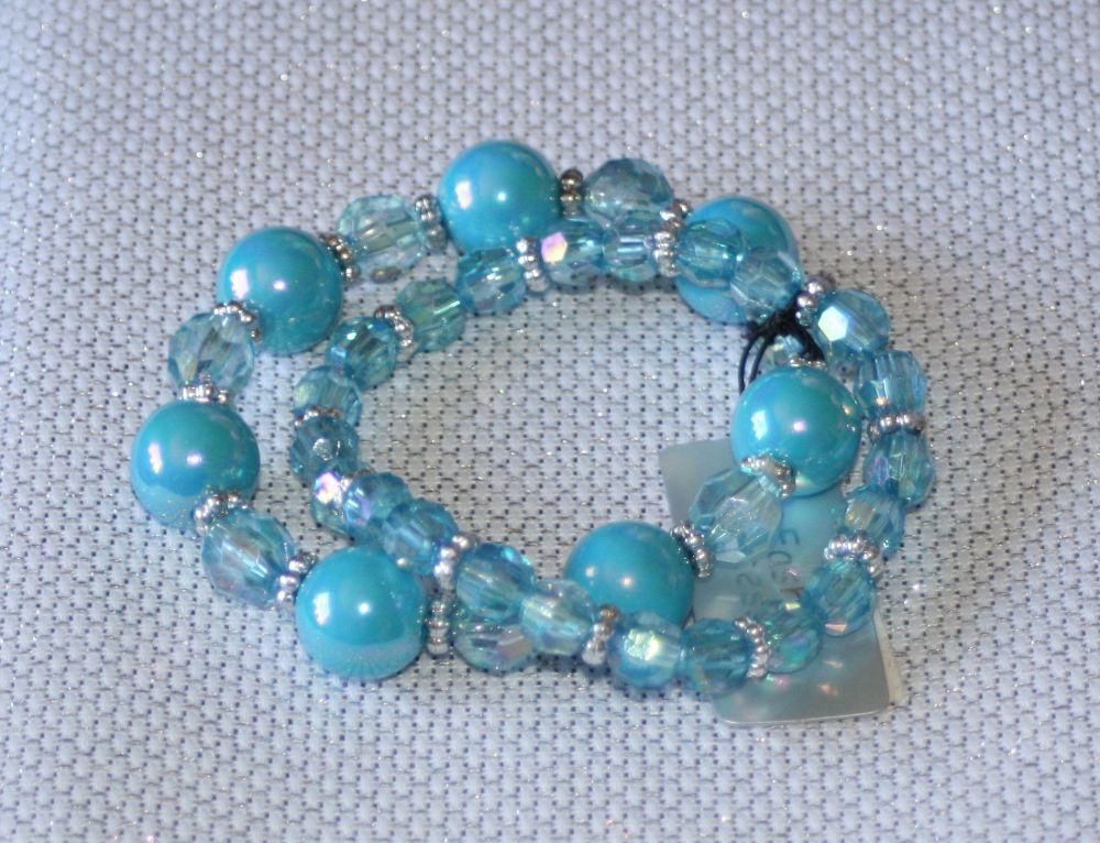 Turquoise Blue Round Bead and Crystal Bracelet