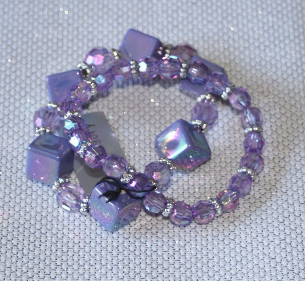 Purple Cube and Crystal Bracelet