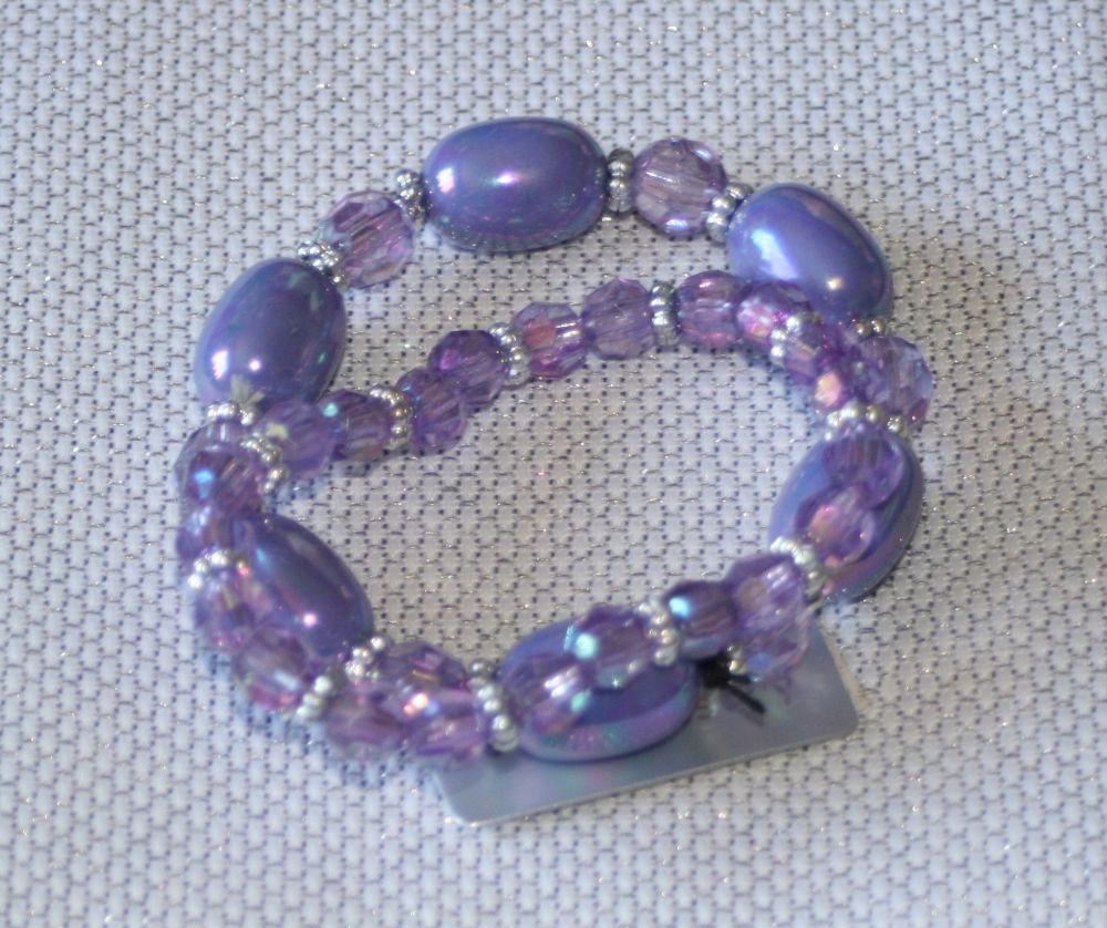 Purple Round Bead and Crystal Bracelet