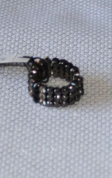 Black and White Diamante expandable rings