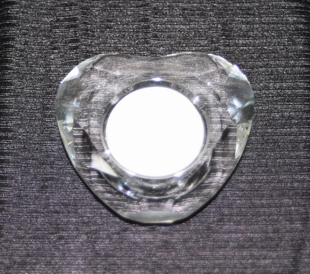 CUT GLASS TEALIGHT HOLDER HEART SHAPE