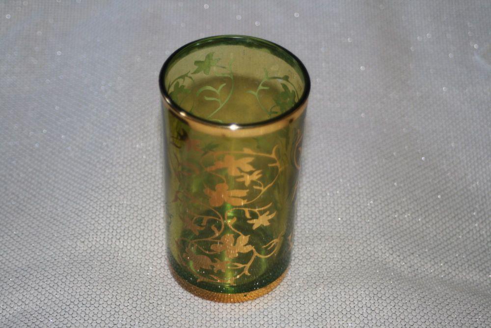 MOROCCAN GLASS GREEN TEA LIGHT HOLDER