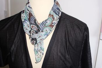 Thin Tie Scarf - browns, blacks blues and greens