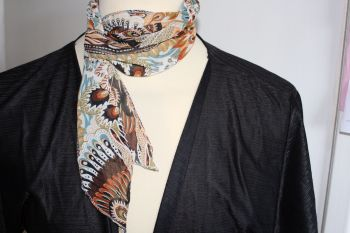 Thin Tie Scarf - brown black and orange