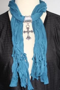 Jewellery Scarf in turquoise blue