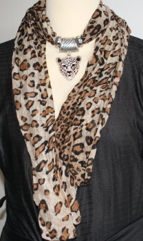 Jewellery Scarf in Leopard Print with diamante studded leopard head
