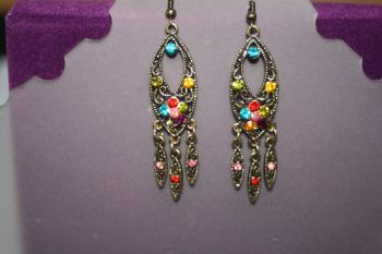 Indian Inspired Dangling Earrings - LONG OVAL