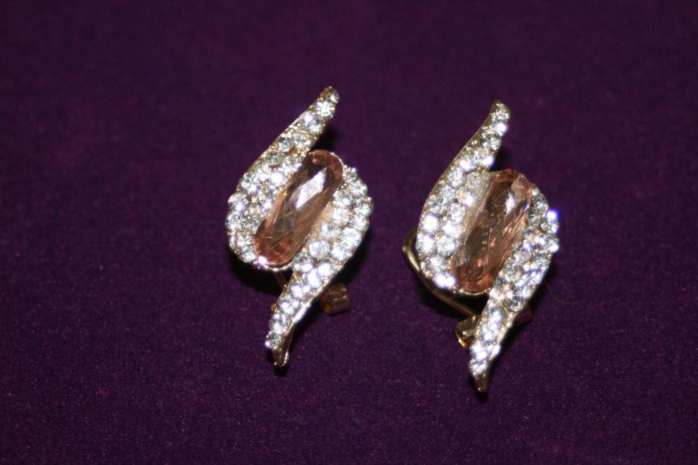 Amber and Diamante Lightning Bolt Earrings