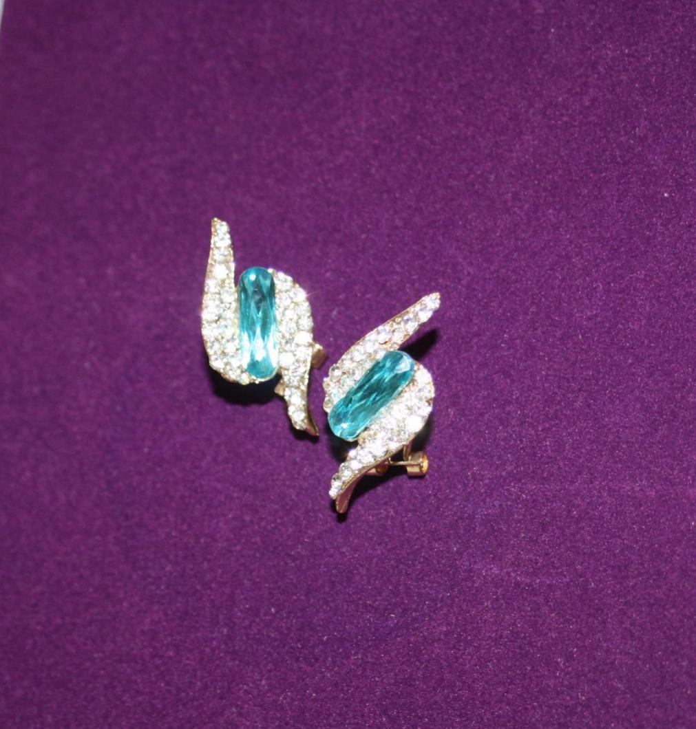 Blue and Diamante Lightning Bolt Earrings