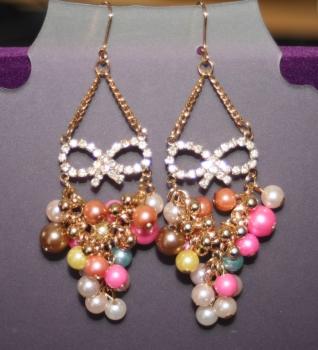 Masquerade Earrings, Diamante and beads