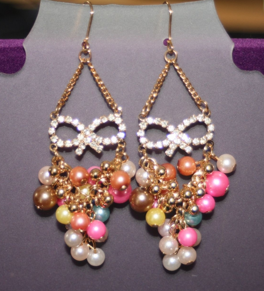 Masquerade Earrings, Diamante and beads