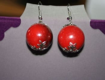 Red Ombre Earrings with Silver Detailing