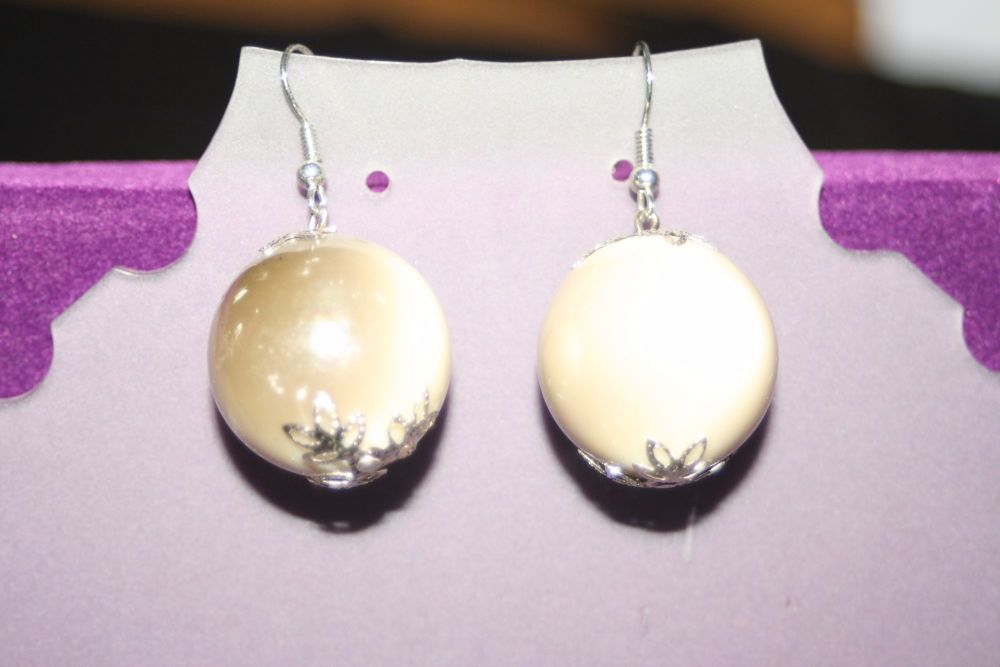 White Earrings with Silver Detailing