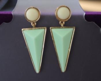 Statement Green Triangular Earrings