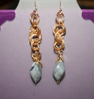 Dangling Gold Chains with Grey stone Effect Detail