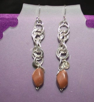 Dangling Silver Chain with Brown Detail