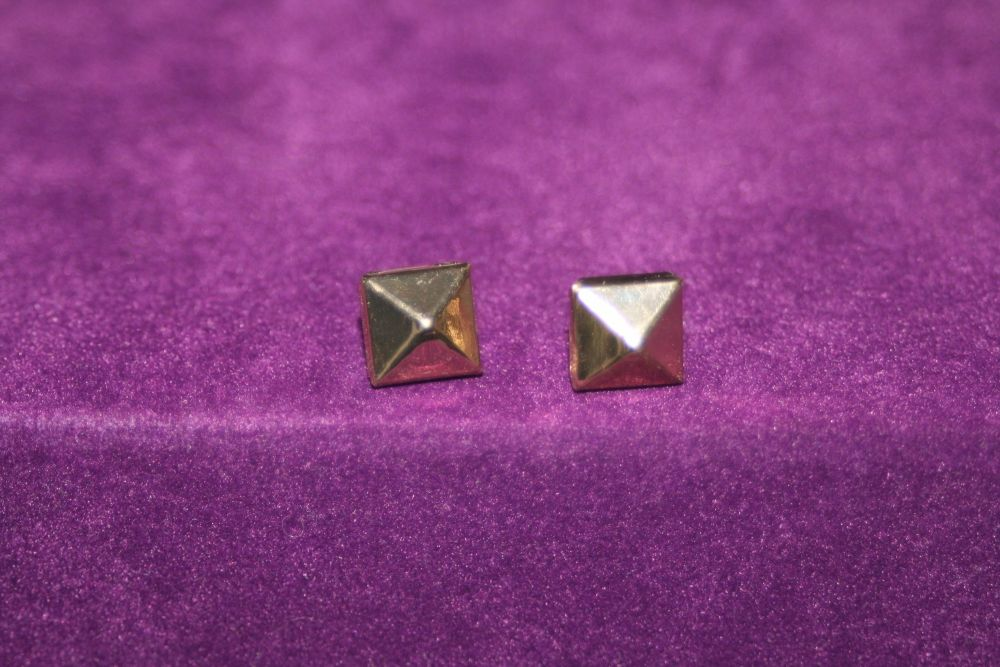 Gold Coloured Small Square Earrings with points