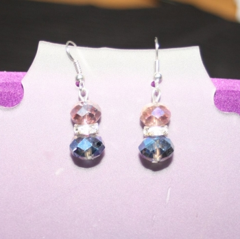 Crystal Earrings with silver diamate spacers - hand made