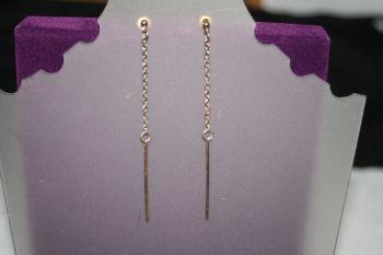 Very Long Dangly Gold Chain earrings ending in long pin