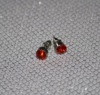 Silver Stud Earrings with red set stone