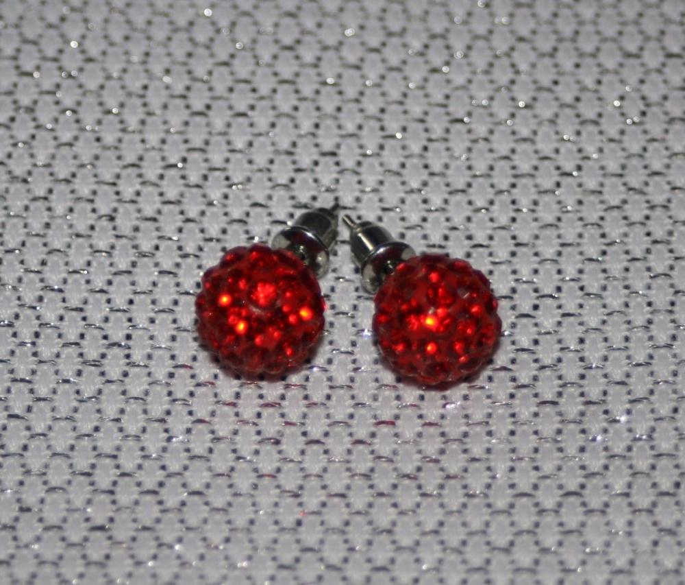 Red Disco Ball Earrings