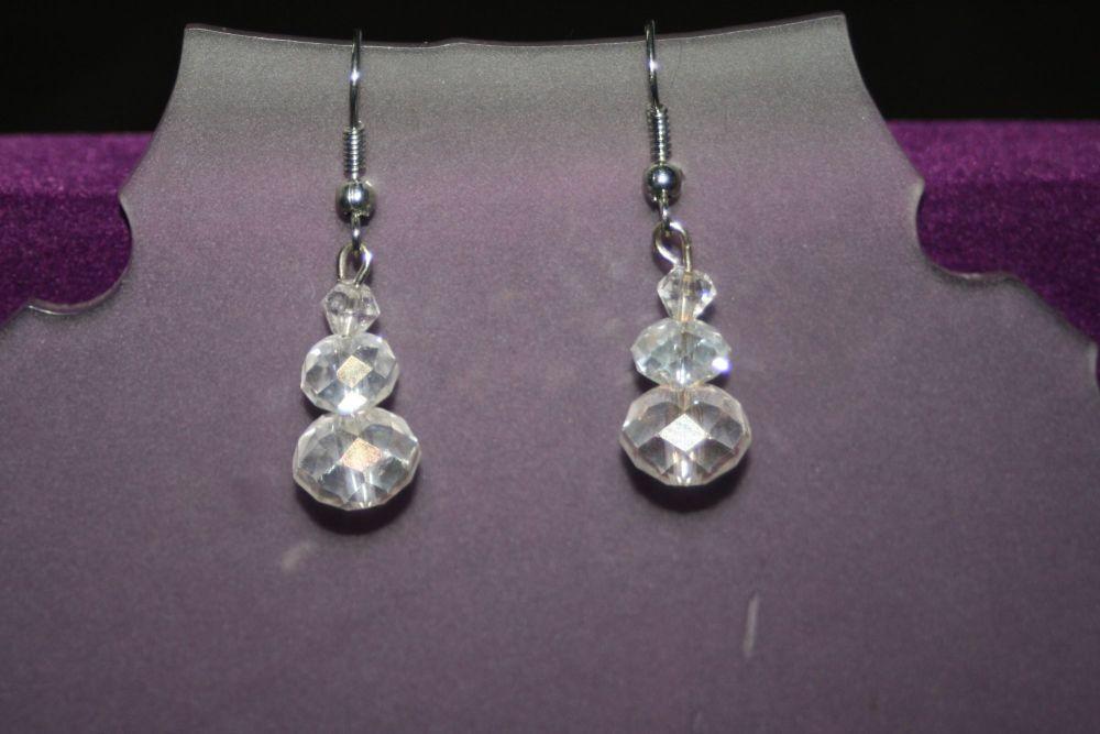 Clear Crystal Three Drop Earrings