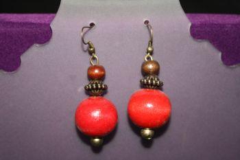 Orange Wooden Bead Earrings