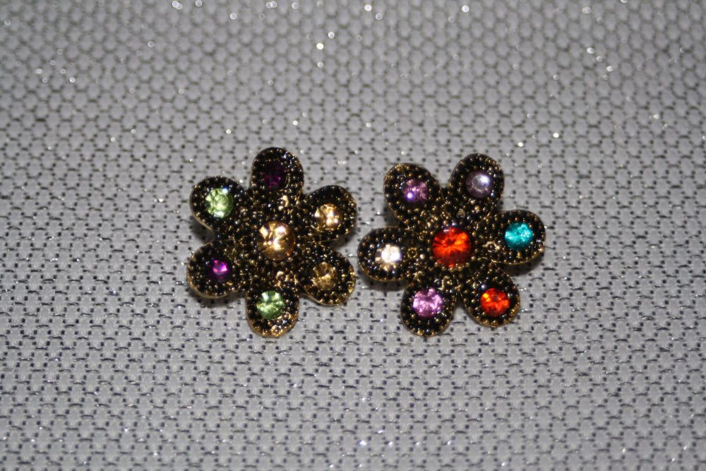 Multicolour Crystal Flower Earrings