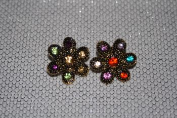 Multicolour Crystal Flower Earrings