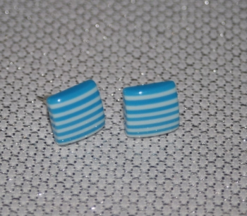 Blue and White Striped Square Earring