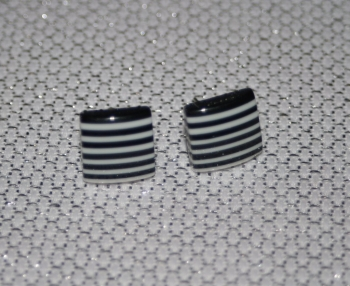 Black and White Striped Square Earring